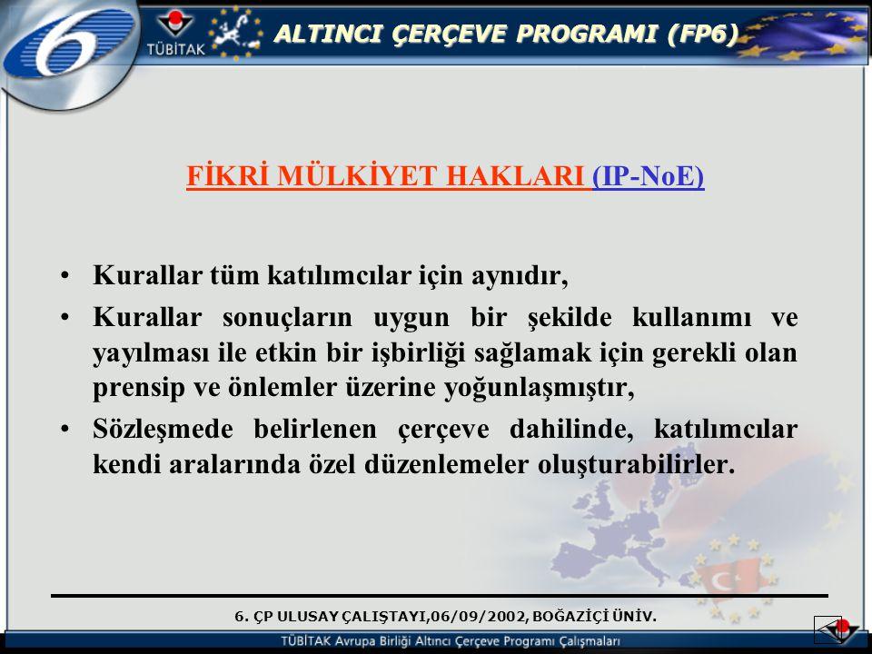 6. ÇP ULUSAY ÇALIŞTAYI,06/09/2002, BOĞAZİÇİ ÜNİV. ALTINCI ÇERÇEVE PROGRAMI (FP6) FİKRİ MÜLKİYET HAKLARI (IP-NoE) Kurallar tüm katılımcılar için aynıdı