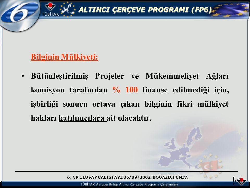 6. ÇP ULUSAY ÇALIŞTAYI,06/09/2002, BOĞAZİÇİ ÜNİV. ALTINCI ÇERÇEVE PROGRAMI (FP6) Bilginin Mülkiyeti: Bütünleştirilmiş Projeler ve Mükemmeliyet Ağları