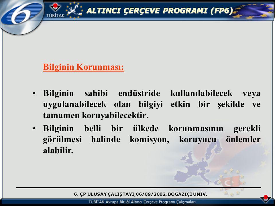 6. ÇP ULUSAY ÇALIŞTAYI,06/09/2002, BOĞAZİÇİ ÜNİV. ALTINCI ÇERÇEVE PROGRAMI (FP6) Bilginin Korunması: Bilginin sahibi endüstride kullanılabilecek veya