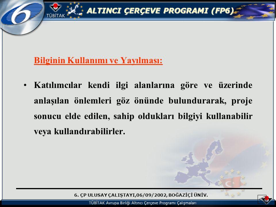 6. ÇP ULUSAY ÇALIŞTAYI,06/09/2002, BOĞAZİÇİ ÜNİV. ALTINCI ÇERÇEVE PROGRAMI (FP6) Bilginin Kullanımı ve Yayılması: Katılımcılar kendi ilgi alanlarına g