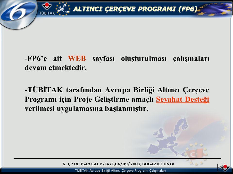 6. ÇP ULUSAY ÇALIŞTAYI,06/09/2002, BOĞAZİÇİ ÜNİV. ALTINCI ÇERÇEVE PROGRAMI (FP6) -FP6'e ait WEB sayfası oluşturulması çalışmaları devam etmektedir. -T