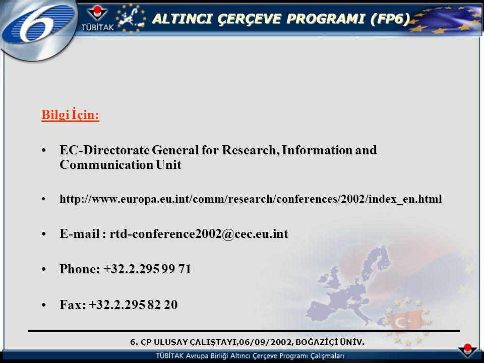 6. ÇP ULUSAY ÇALIŞTAYI,06/09/2002, BOĞAZİÇİ ÜNİV. ALTINCI ÇERÇEVE PROGRAMI (FP6) Bilgi İçin: EC-Directorate General for Research, Information and Comm