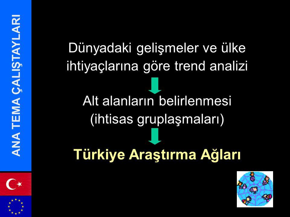 ANA TEMA ÇALIŞTAYLARI Dünyadaki gelişmeler ve ülke ihtiyaçlarına göre trend analizi Alt alanların belirlenmesi (ihtisas gruplaşmaları) Türkiye Araştırma Ağları