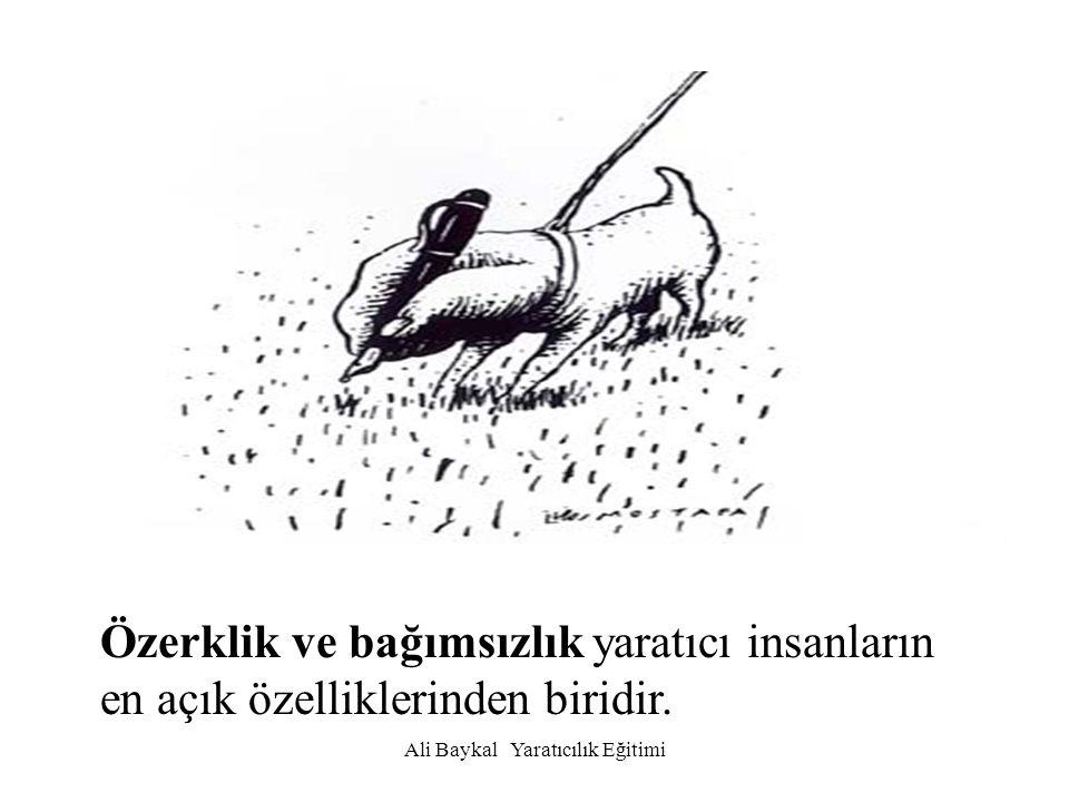 Ali Baykal Yaratıcılık Eğitimi Özerklik ve bağımsızlık yaratıcı insanların en açık özelliklerinden biridir.