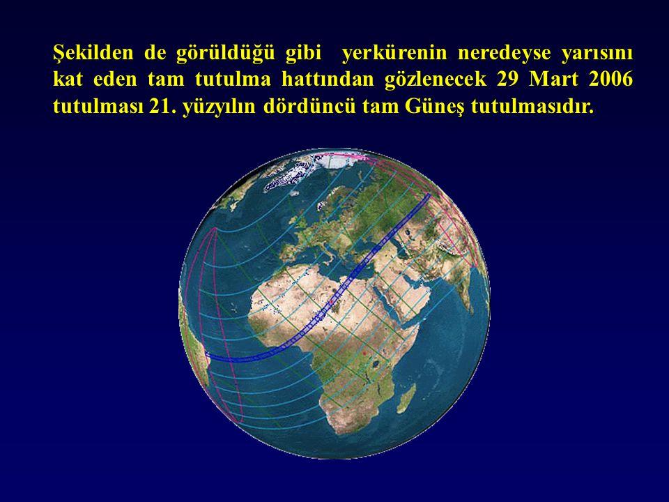 Şekilden de görüldüğü gibi yerkürenin neredeyse yarısını kat eden tam tutulma hattından gözlenecek 29 Mart 2006 tutulması 21.