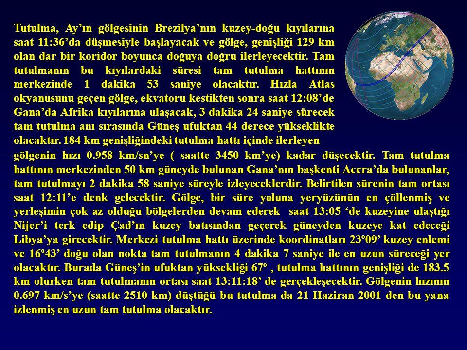 Tutulma, Ay'ın gölgesinin Brezilya'nın kuzey-doğu kıyılarına saat 11:36'da düşmesiyle başlayacak ve gölge, genişliği 129 km olan dar bir koridor boyunca doğuya doğru ilerleyecektir.