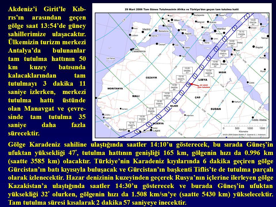 Akdeniz'i Girit'le Kıb- rıs'ın arasından geçen gölge saat 13:54'de güney sahillerimize ulaşacaktır. Ülkemizin turizm merkezi Antalya'da bulunanlar tam
