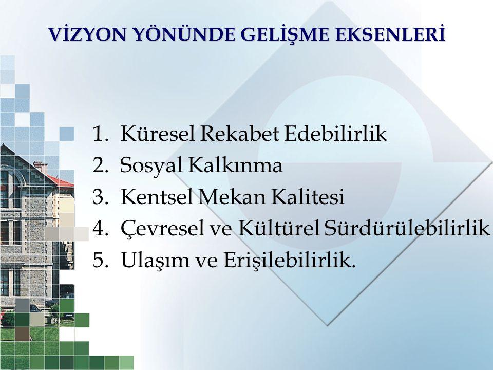 2010-2013 İstanbul Bölge Planı Gelişme Eksenleri ve Stratejik Amaçları (1) KÜRESEL REKABET EDEBİLİRLİK GELİŞME EKSENİ STRATEJİK AMAÇLARI  Hizmetler sektörünün geliştirilmesi ve ekonomideki ağırlığının artırılması  Sanayide yüksek katma değer üreten ve ileri teknolojileri kullanan bir yapının desteklenmesi  İstanbul Bölgesi'nin bilim ve teknoloji üssü haline getirilmesi  İşgücü niteliğinin yüksek katma değer üreten ekonomik faaliyetlerin ihtiyaçları doğrultusunda geliştirilmesi  Bölgenin küresel ekonomiye entegrasyonunun geliştirilmesi  Bölgenin uluslararası finans merkezi olması  Bölgenin turizmde küresel cazibe merkezi olması  Lojistik sektörünün rekabet gücünün artırılması  Yaratıcı endüstrilerin geliştirilmesi