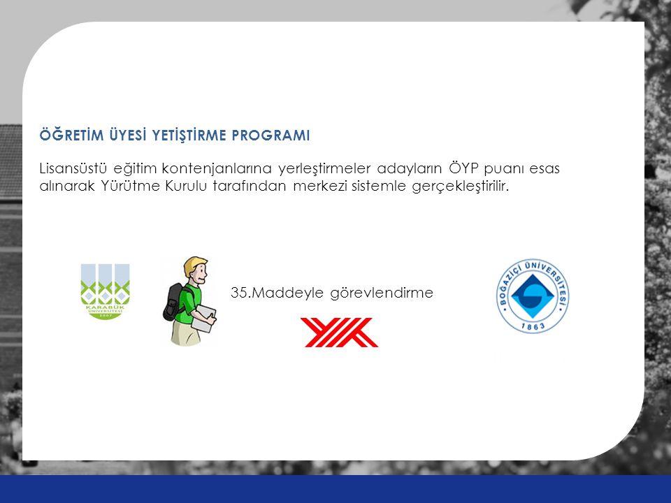 ÖĞRETİM ÜYESİ YETİŞTİRME PROGRAMI Lisansüstü eğitim kontenjanlarına yerleştirmeler adayların ÖYP puanı esas alınarak Yürütme Kurulu tarafından merkezi