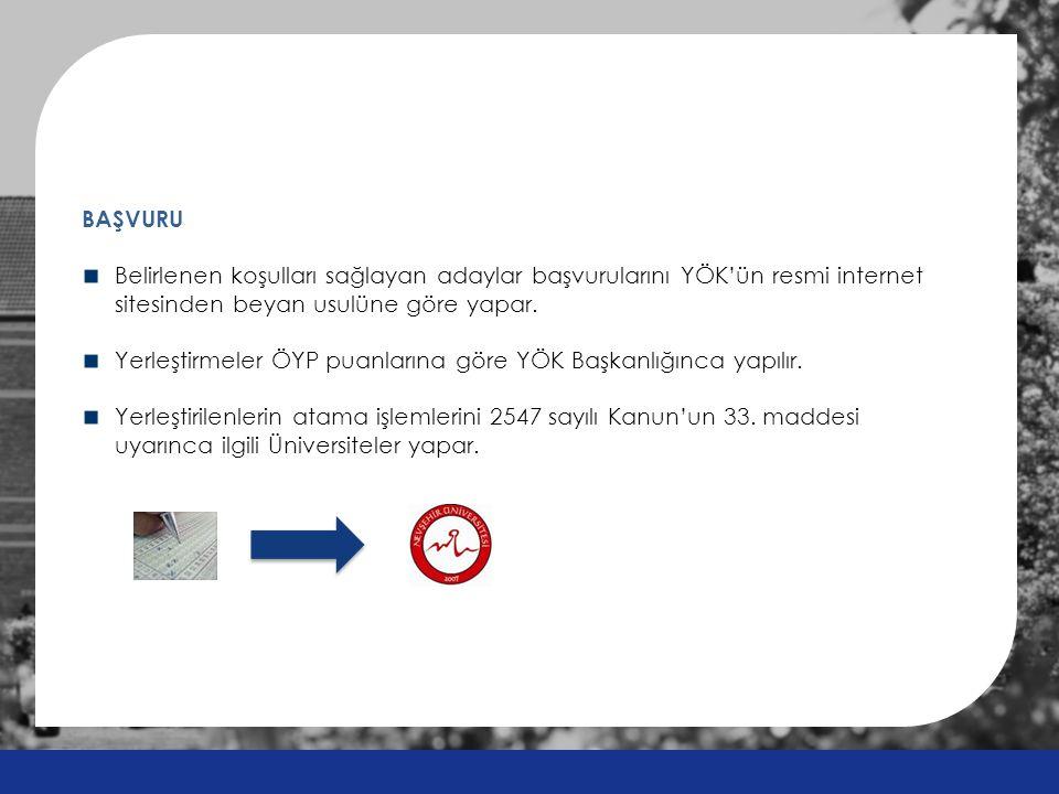 BAŞVURU Belirlenen koşulları sağlayan adaylar başvurularını YÖK'ün resmi internet sitesinden beyan usulüne göre yapar. Yerleştirmeler ÖYP puanlarına g