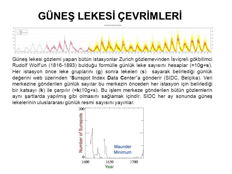 GÜNEŞ LEKESİ ÇEVRİMLERİ Güneş lekesi gözlemi yapan bütün istasyonlar Zurich gözlemevinden İsviçreli gökbilimci Rudolf Wolf'un (1816-1893) bulduğu form