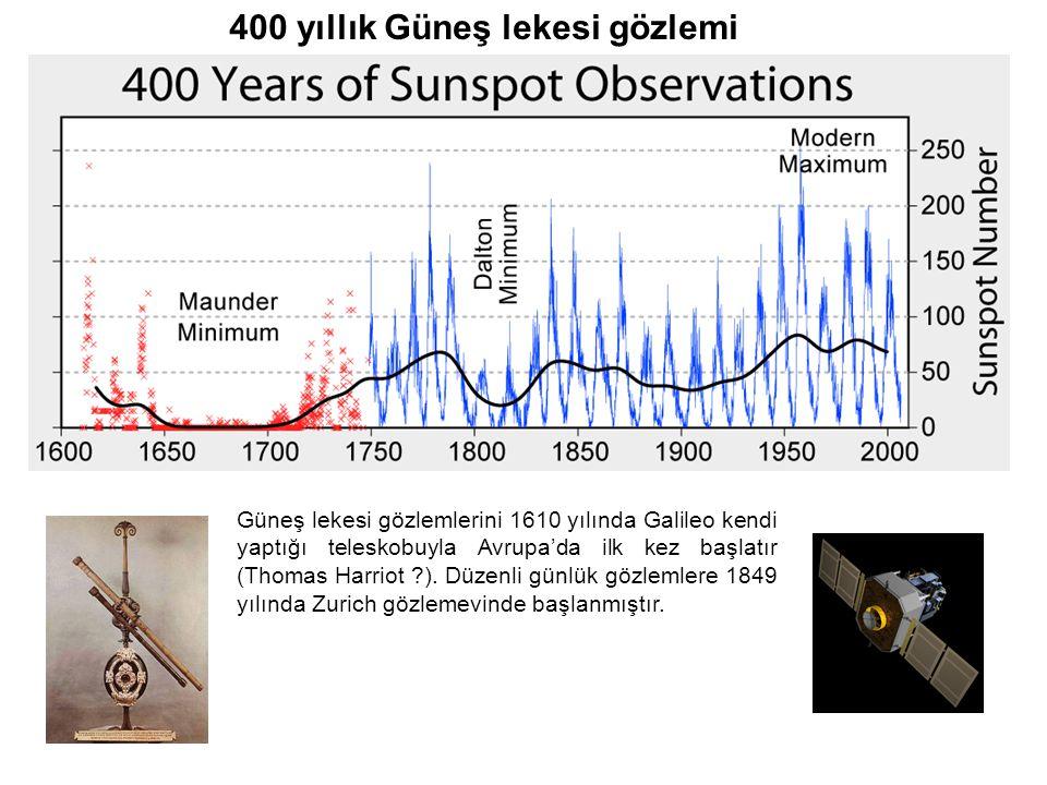 Güneş lekesi gözlemlerini 1610 yılında Galileo kendi yaptığı teleskobuyla Avrupa'da ilk kez başlatır (Thomas Harriot ?). Düzenli günlük gözlemlere 184