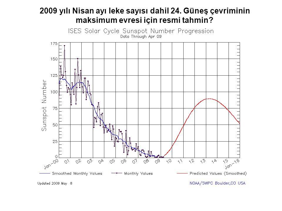 2009 yılı Nisan ayı leke sayısı dahil 24. Güneş çevriminin maksimum evresi için resmi tahmin?