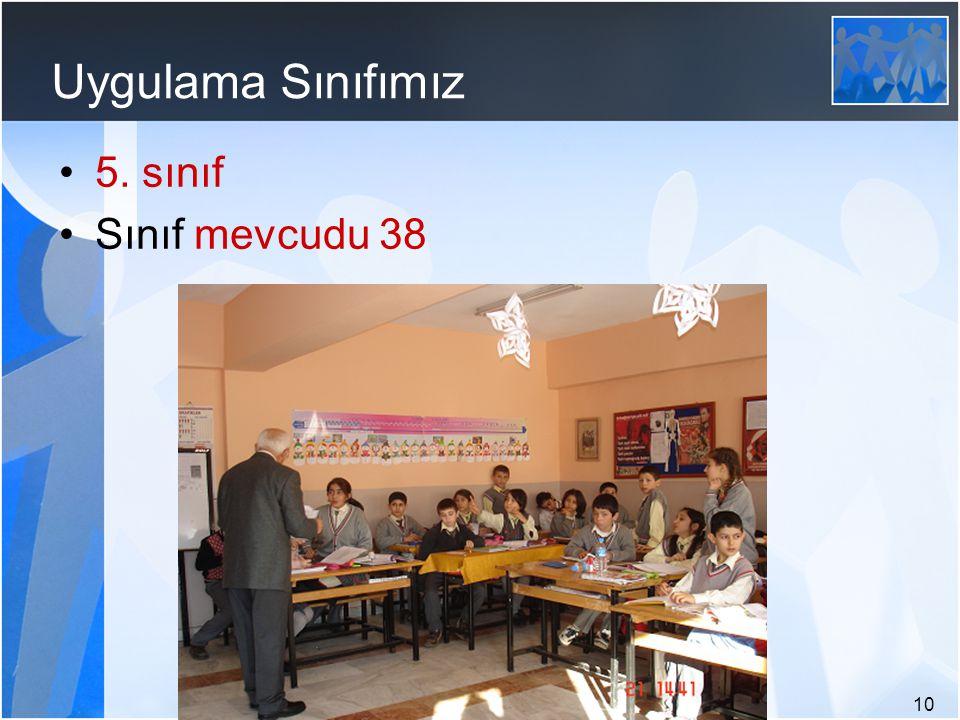10 Uygulama Sınıfımız 5. sınıf Sınıf mevcudu 38