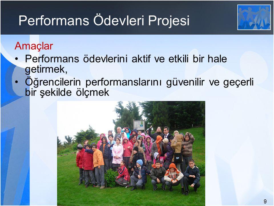 9 Performans Ödevleri Projesi Amaçlar Performans ödevlerini aktif ve etkili bir hale getirmek, Öğrencilerin performanslarını güvenilir ve geçerli bir