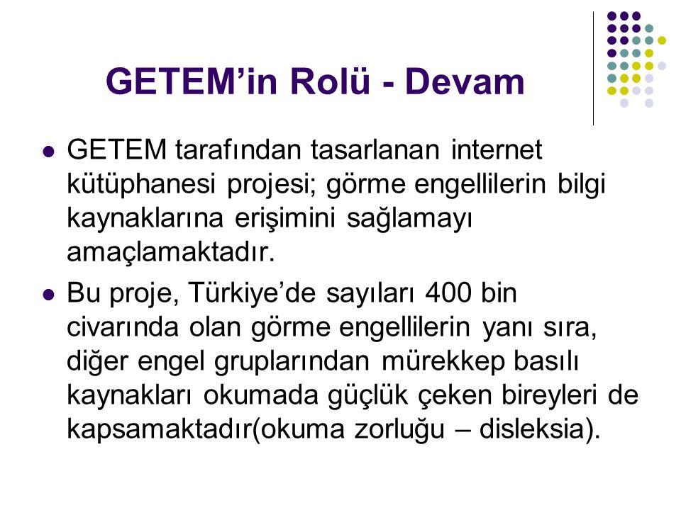 GETEM'in Rolü - Devam GETEM tarafından tasarlanan internet kütüphanesi projesi; görme engellilerin bilgi kaynaklarına erişimini sağlamayı amaçlamaktad
