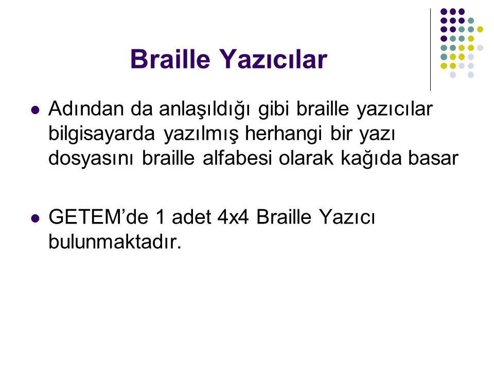 Braille Yazıcılar Adından da anlaşıldığı gibi braille yazıcılar bilgisayarda yazılmış herhangi bir yazı dosyasını braille alfabesi olarak kağıda basar