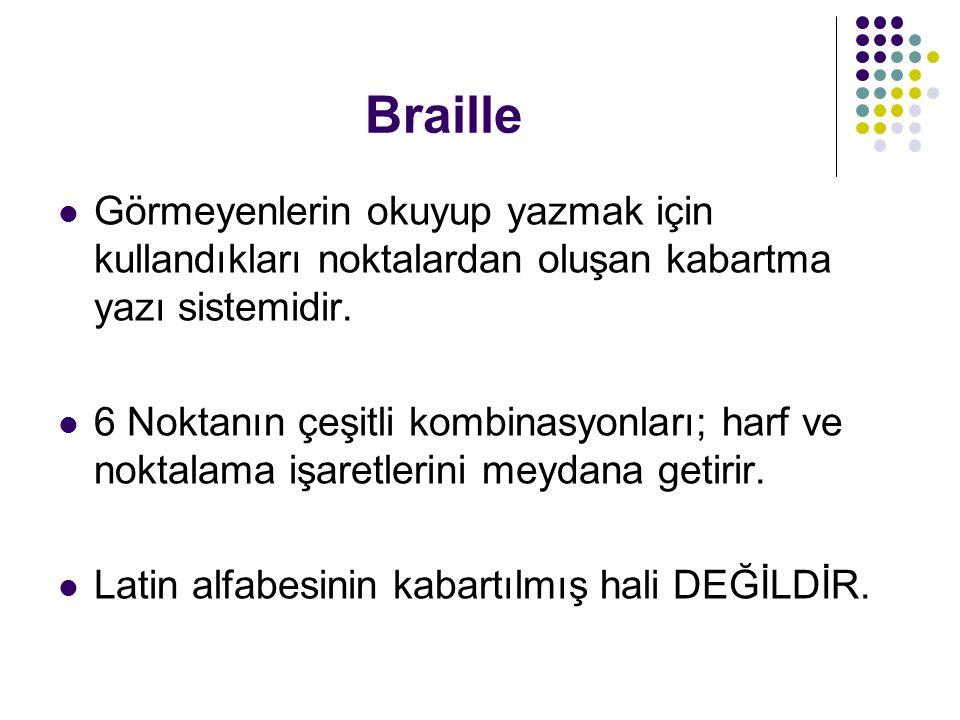 Braille Görmeyenlerin okuyup yazmak için kullandıkları noktalardan oluşan kabartma yazı sistemidir. 6 Noktanın çeşitli kombinasyonları; harf ve noktal