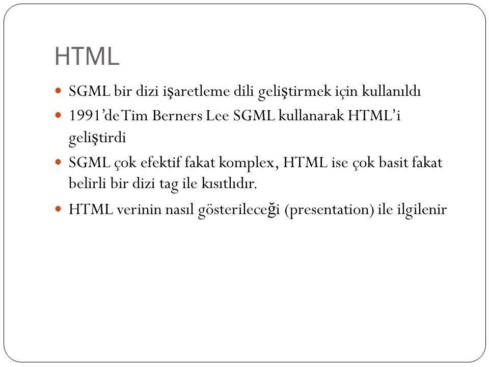 HTML SGML bir dizi i ş aretleme dili geli ş tirmek için kullanıldı 1991'de Tim Berners Lee SGML kullanarak HTML'i geli ş tirdi SGML çok efektif fakat komplex, HTML ise çok basit fakat belirli bir dizi tag ile kısıtlıdır.