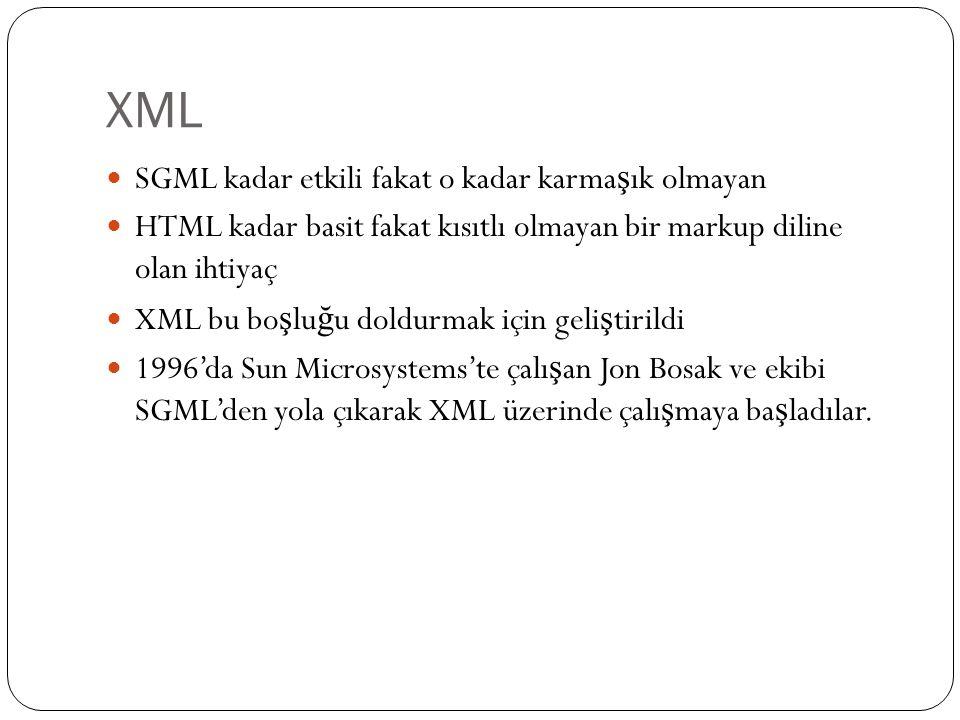XML SGML kadar etkili fakat o kadar karma ş ık olmayan HTML kadar basit fakat kısıtlı olmayan bir markup diline olan ihtiyaç XML bu bo ş lu ğ u doldur