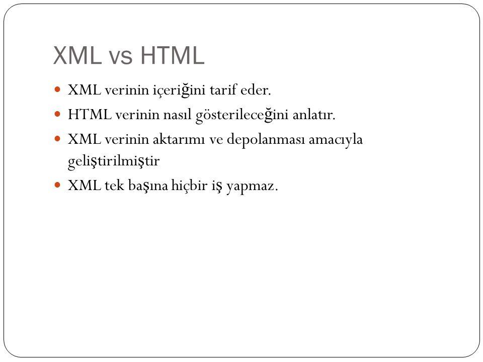XML vs HTML XML verinin içeri ğ ini tarif eder. HTML verinin nasıl gösterilece ğ ini anlatır. XML verinin aktarımı ve depolanması amacıyla geli ş tiri