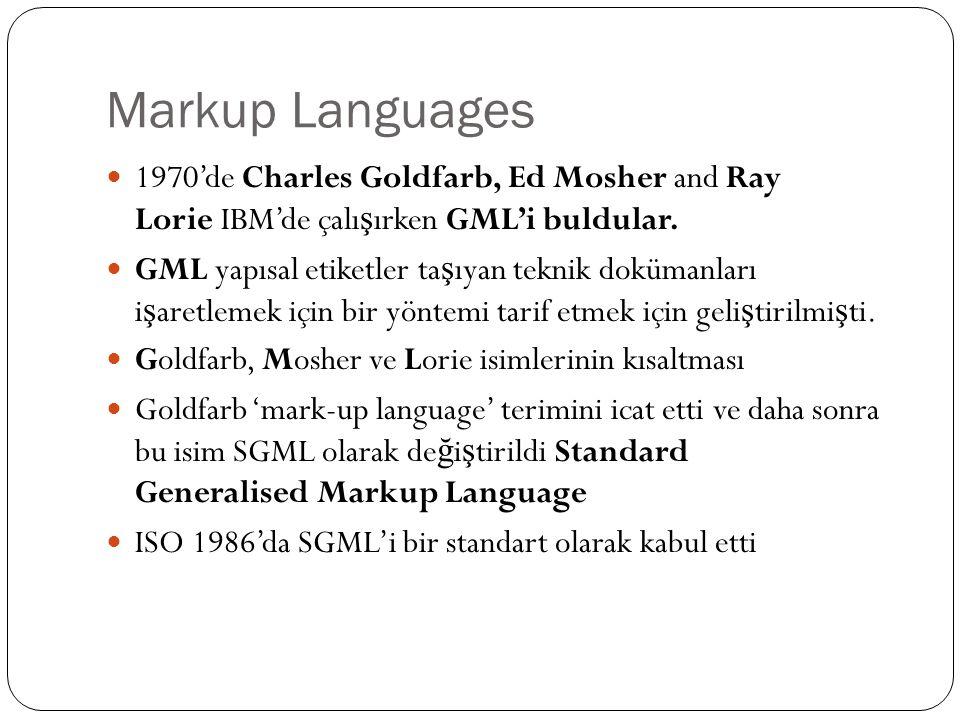 Markup Languages 1970'de Charles Goldfarb, Ed Mosher and Ray Lorie IBM'de çalı ş ırken GML'i buldular. GML yapısal etiketler ta ş ıyan teknik dokümanl