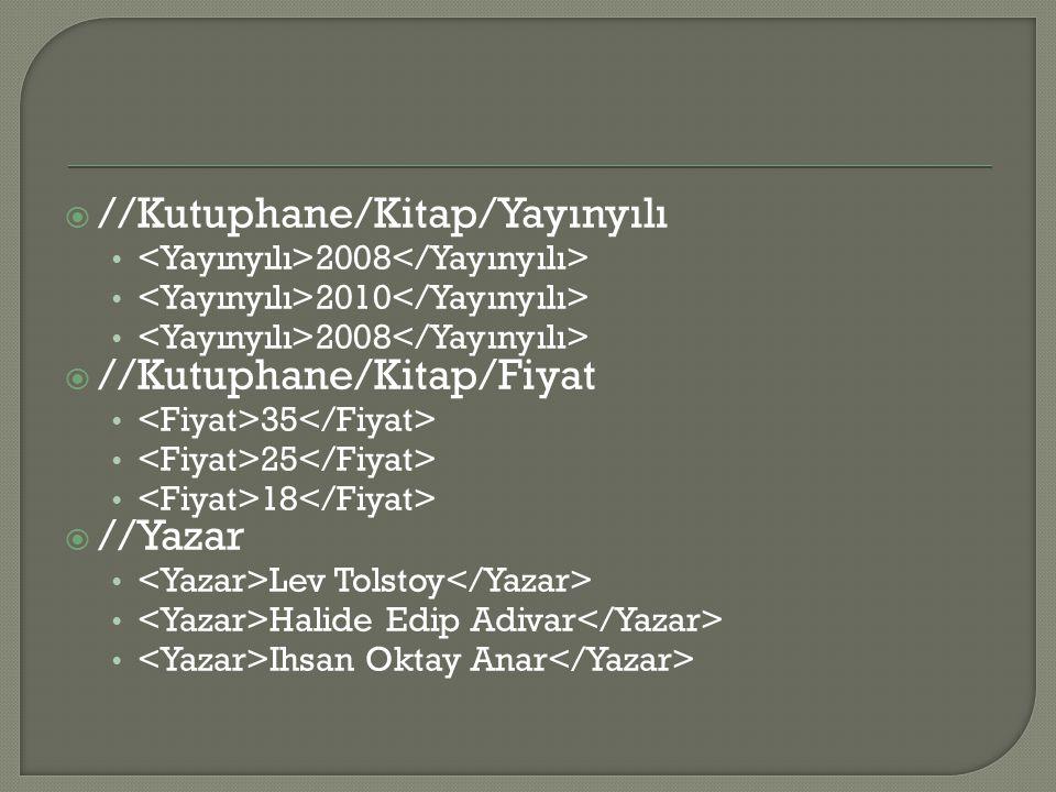  //Kutuphane/Kitap/Yayınyılı 2008 2010 2008  //Kutuphane/Kitap/Fiyat 35 25 18  //Yazar Lev Tolstoy Halide Edip Adivar Ihsan Oktay Anar