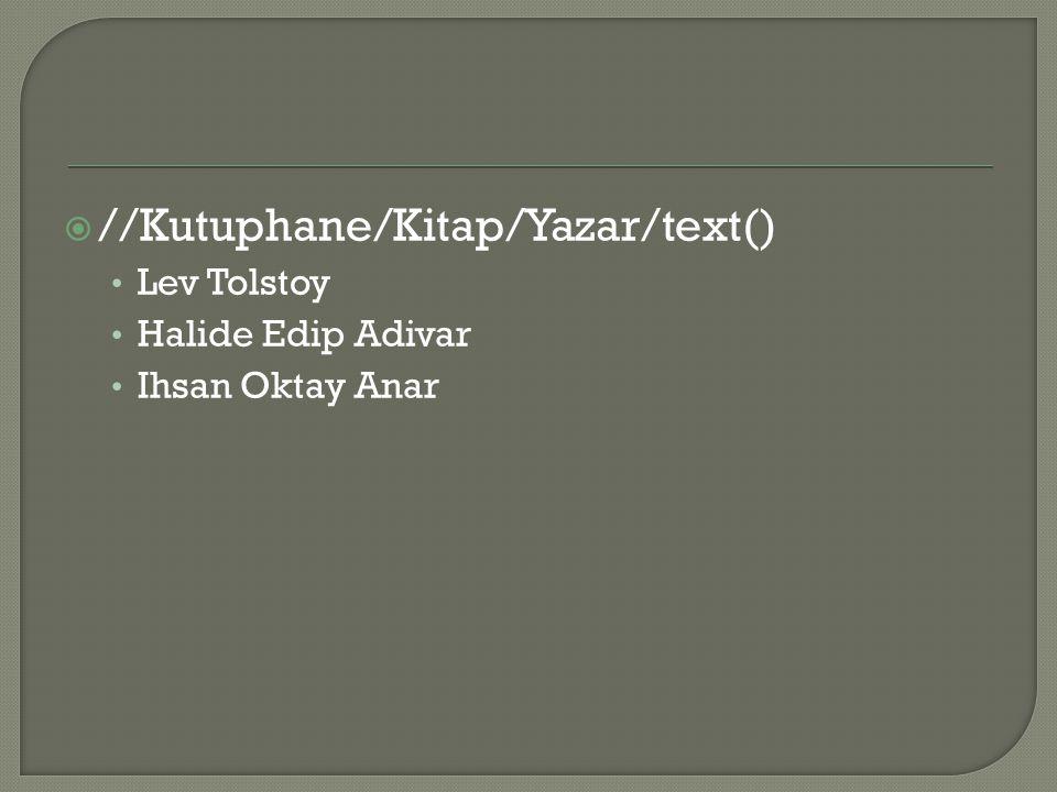  //Kutuphane/Kitap/Yazar/text() Lev Tolstoy Halide Edip Adivar Ihsan Oktay Anar