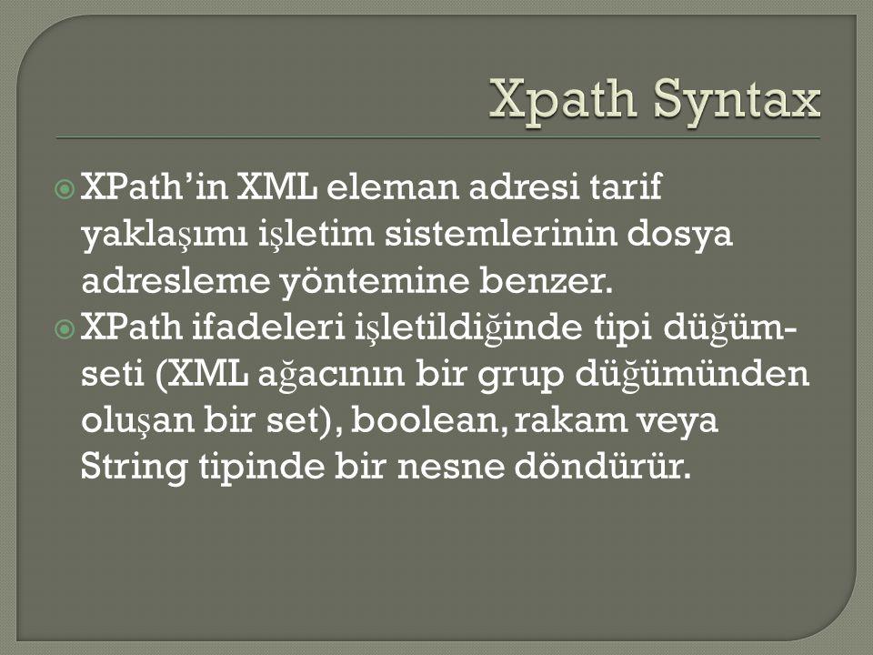 Adresler İş letim Sistemi: XPath: / = kök dizin /kütüphane = kök element /kütüphane/kitap/abc = tkütüphane klasörünün içindeki kitap klasöründeki abc dosyası /kütüphane/kitap/bölüm/kısım = kütüphanedeki her kitap içindeki bir bölümün her kısım elementi.