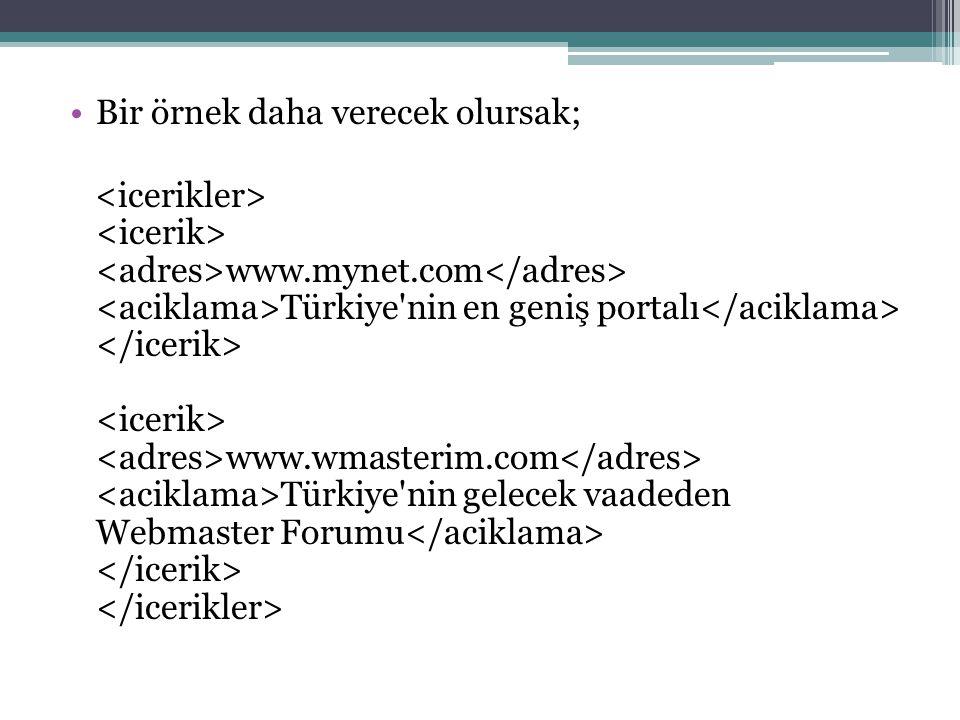 Bir örnek daha verecek olursak; www.mynet.com Türkiye'nin en geniş portalı www.wmasterim.com Türkiye'nin gelecek vaadeden Webmaster Forumu