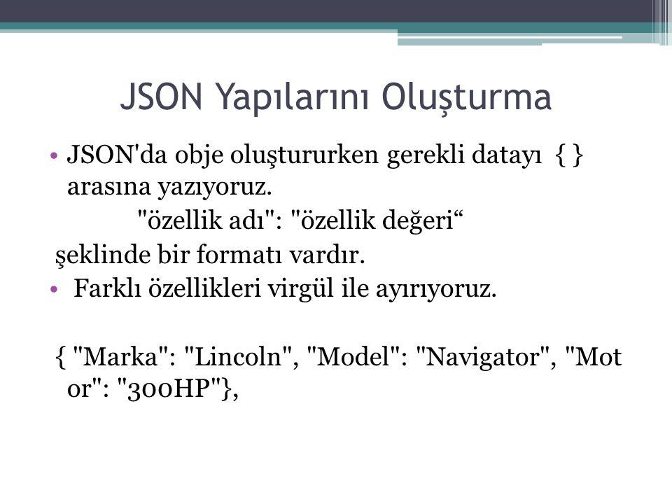 JSON Yapılarını Oluşturma JSON'da obje oluştururken gerekli datayı { } arasına yazıyoruz.