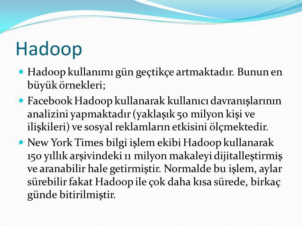 Hadoop Hadoop kullanımı gün geçtikçe artmaktadır.
