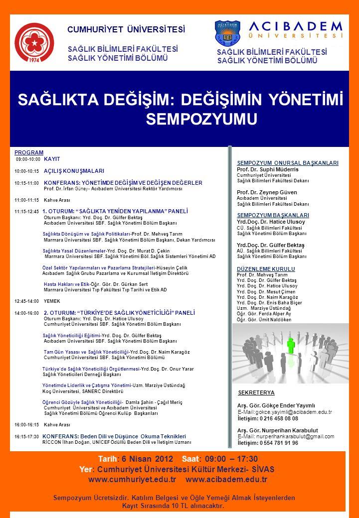 SAĞLIKTA DEĞİŞİM: DEĞİŞİMİN YÖNETİMİ SEMPOZYUMU Tarih: 6 Nisan 2012 Saat: 09:00 – 17:30 Yer : Cumhuriyet Üniversitesi Kültür Merkezi- SİVAS www.cumhur