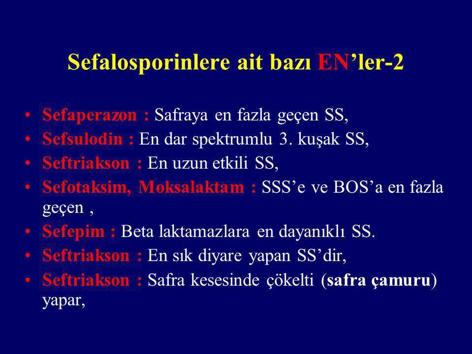 Sefalosporinlere ait bazı EN'ler-2 Sefaperazon : Safraya en fazla geçen SS, Sefsulodin : En dar spektrumlu 3. kuşak SS, Seftriakson : En uzun etkili S