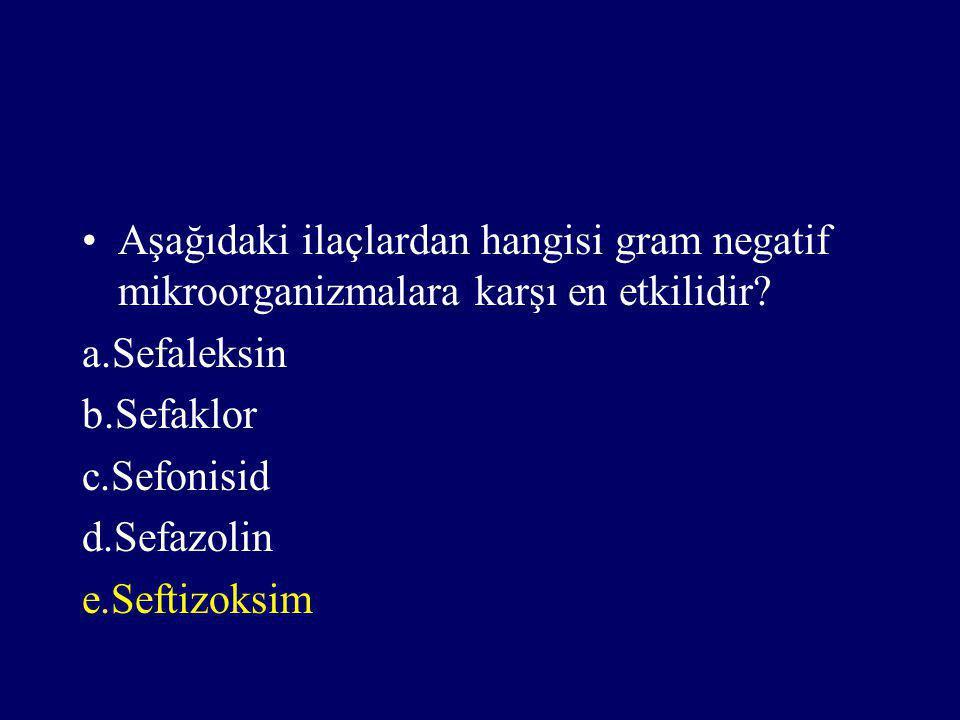 Aşağıdaki ilaçlardan hangisi gram negatif mikroorganizmalara karşı en etkilidir? a.Sefaleksin b.Sefaklor c.Sefonisid d.Sefazolin e.Seftizoksim