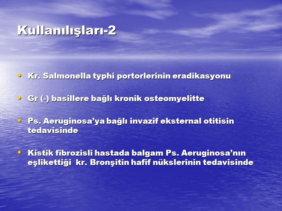 Kullanılışları-2 Kr. Salmonella typhi portorlerinin eradikasyonu Kr. Salmonella typhi portorlerinin eradikasyonu Gr (-) basillere bağlı kronik osteomy