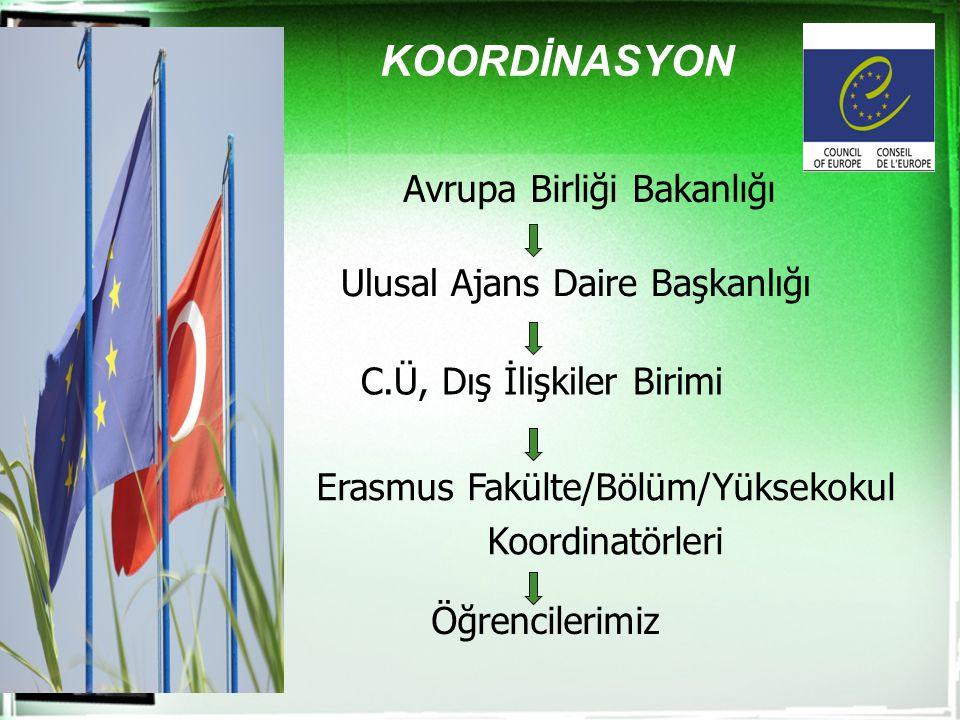KOORDİNASYON Avrupa Birliği Bakanlığı Ulusal Ajans Daire Başkanlığı C.Ü, Dış İlişkiler Birimi Erasmus Fakülte/Bölüm/Yüksekokul Koordinatörleri Öğrenci