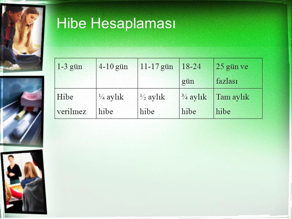 Hibe Hesaplaması 1-3 gün4-10 gün11-17 gün 18-24 gün 25 gün ve fazlası Hibe verilmez ¼ aylık hibe ½ aylık hibe ¾ aylık hibe Tam aylık hibe