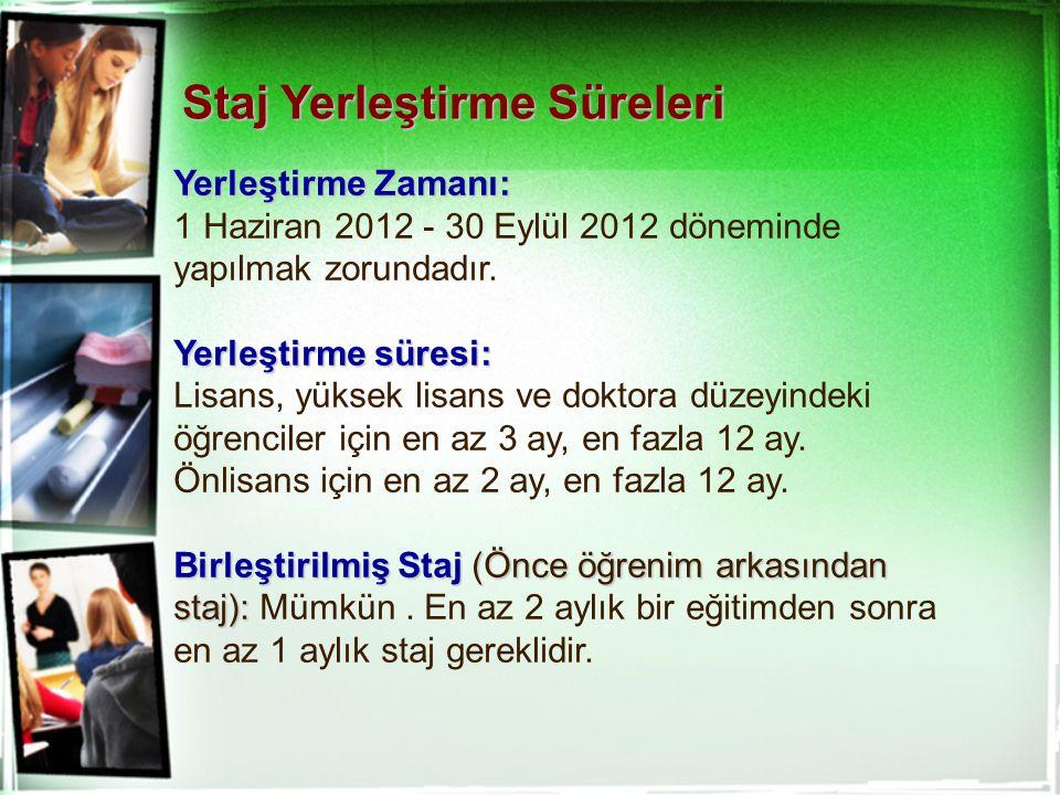 Yerleştirme Zamanı: 1 Haziran 2012 - 30 Eylül 2012 döneminde yapılmak zorundadır. Yerleştirme süresi: Lisans, yüksek lisans ve doktora düzeyindeki öğr
