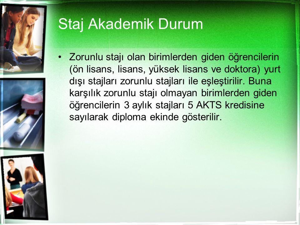 Staj Akademik Durum Zorunlu stajı olan birimlerden giden öğrencilerin (ön lisans, lisans, yüksek lisans ve doktora) yurt dışı stajları zorunlu stajlar