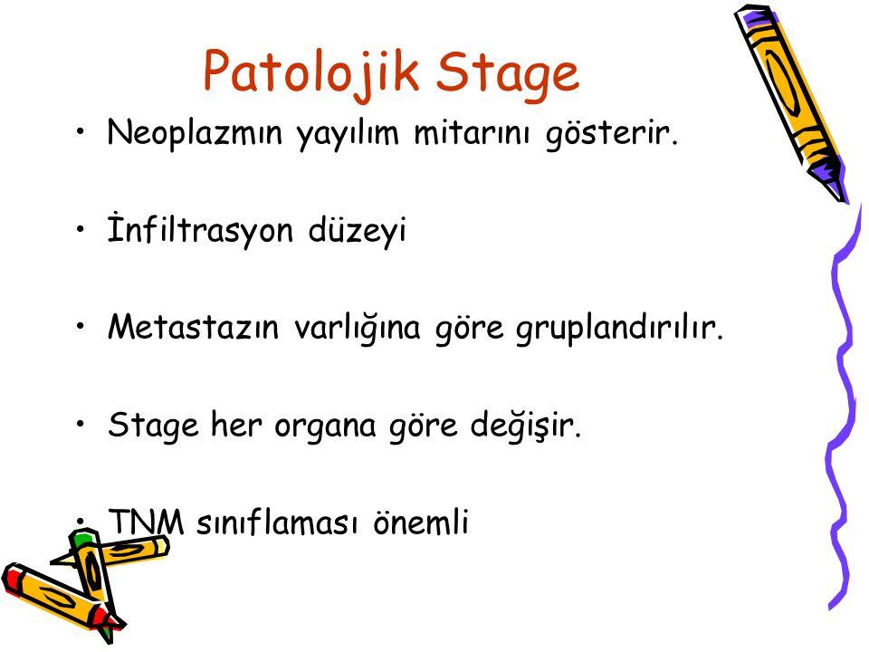Patolojik Stage Neoplazmın yayılım mitarını gösterir. İnfiltrasyon düzeyi Metastazın varlığına göre gruplandırılır. Stage her organa göre değişir. TNM