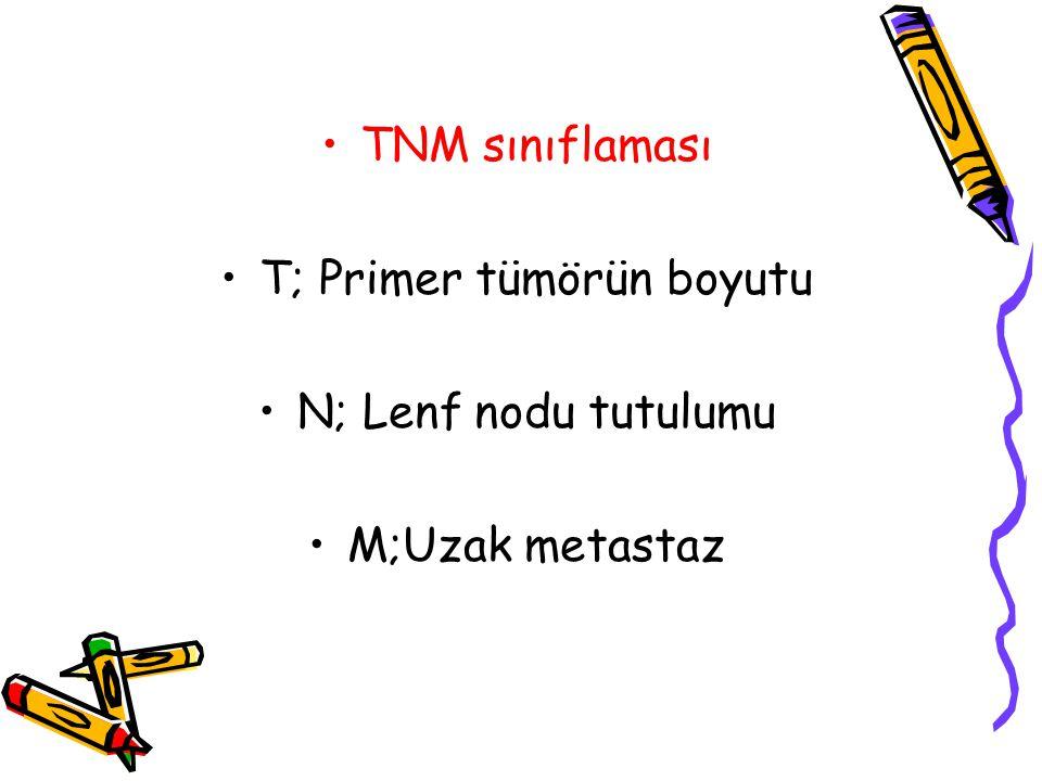 TNM sınıflaması T; Primer tümörün boyutu N; Lenf nodu tutulumu M;Uzak metastaz