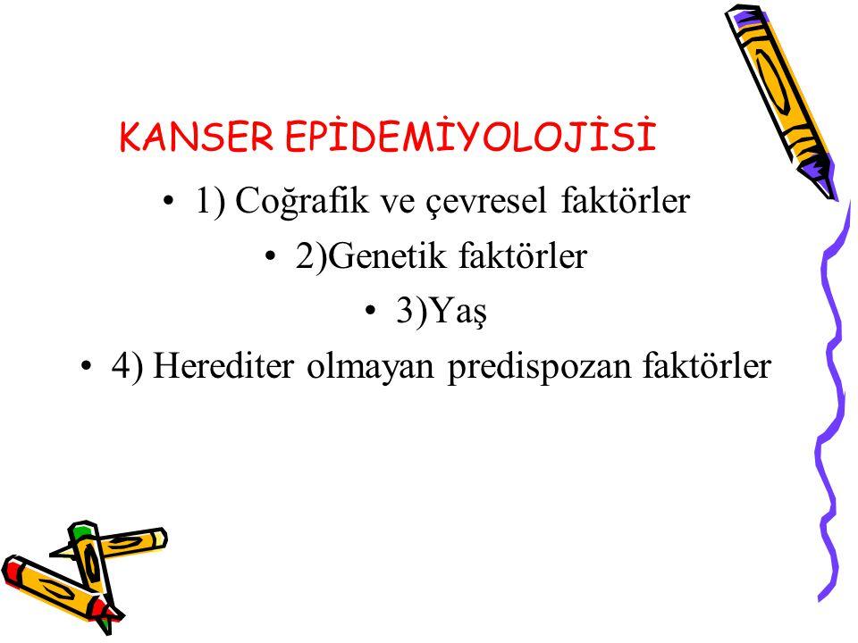 KANSER EPİDEMİYOLOJİSİ 1) Coğrafik ve çevresel faktörler 2)Genetik faktörler 3)Yaş 4) Herediter olmayan predispozan faktörler