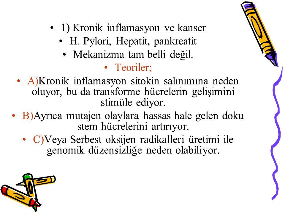 1) Kronik inflamasyon ve kanser H. Pylori, Hepatit, pankreatit Mekanizma tam belli değil. Teoriler; A)Kronik inflamasyon sitokin salınımına neden oluy