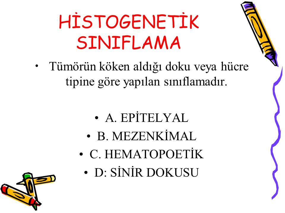 HİSTOGENETİK SINIFLAMA Tümörün köken aldığı doku veya hücre tipine göre yapılan sınıflamadır.