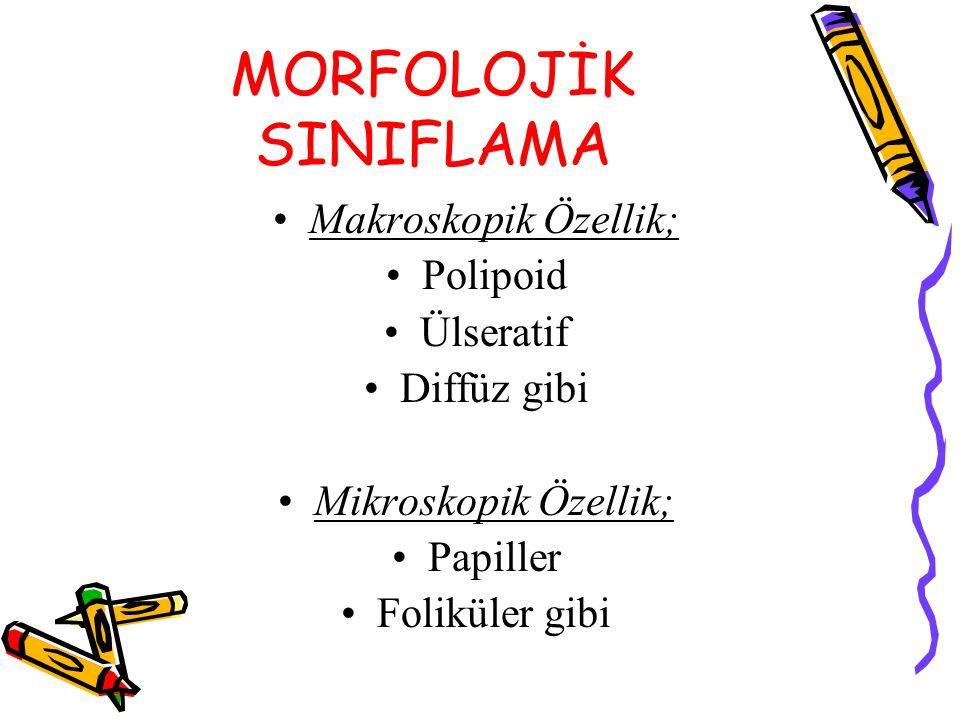 MORFOLOJİK SINIFLAMA Makroskopik Özellik; Polipoid Ülseratif Diffüz gibi Mikroskopik Özellik; Papiller Foliküler gibi