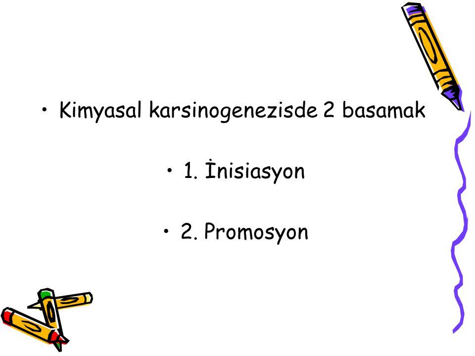 Kimyasal karsinogenezisde 2 basamak 1. İnisiasyon 2. Promosyon