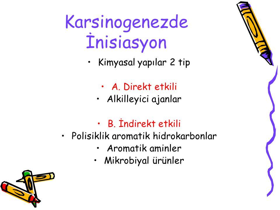 Karsinogenezde İnisiasyon Kimyasal yapılar 2 tip A. Direkt etkili Alkilleyici ajanlar B. İndirekt etkili Polisiklik aromatik hidrokarbonlar Aromatik a