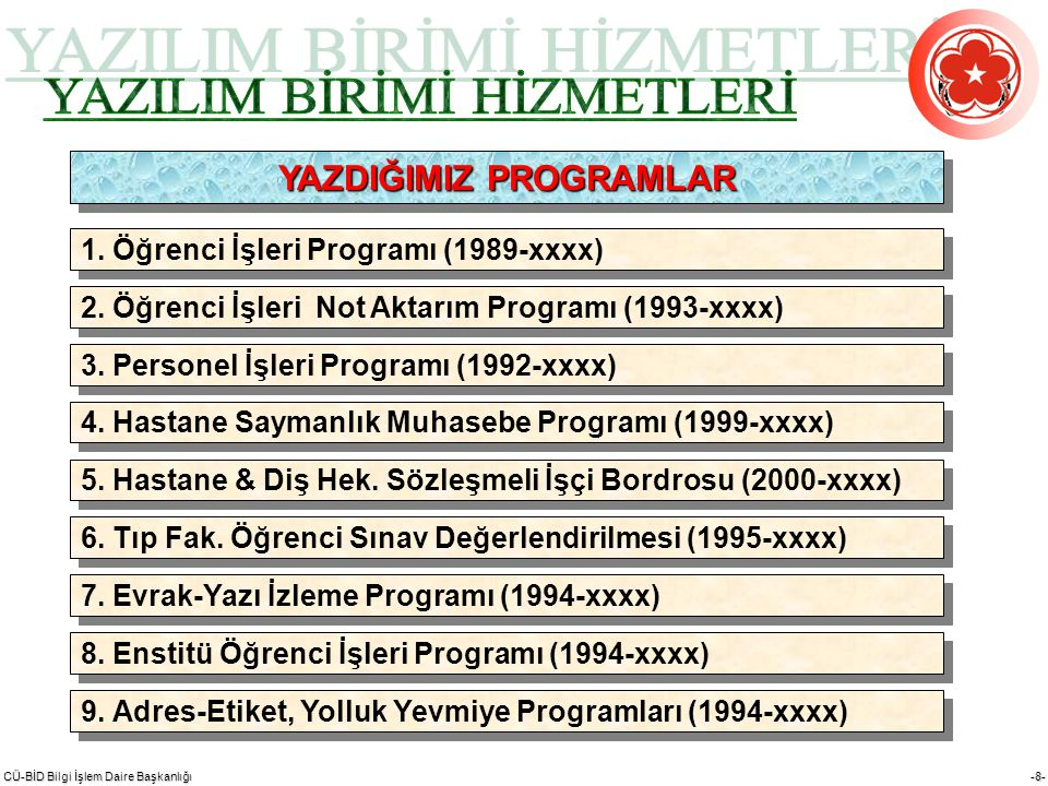 CÜ-BİD Bilgi İşlem Daire Başkanlığı -9- 9.Web Sayfası Dizaynı (1994-xxxx) 10.