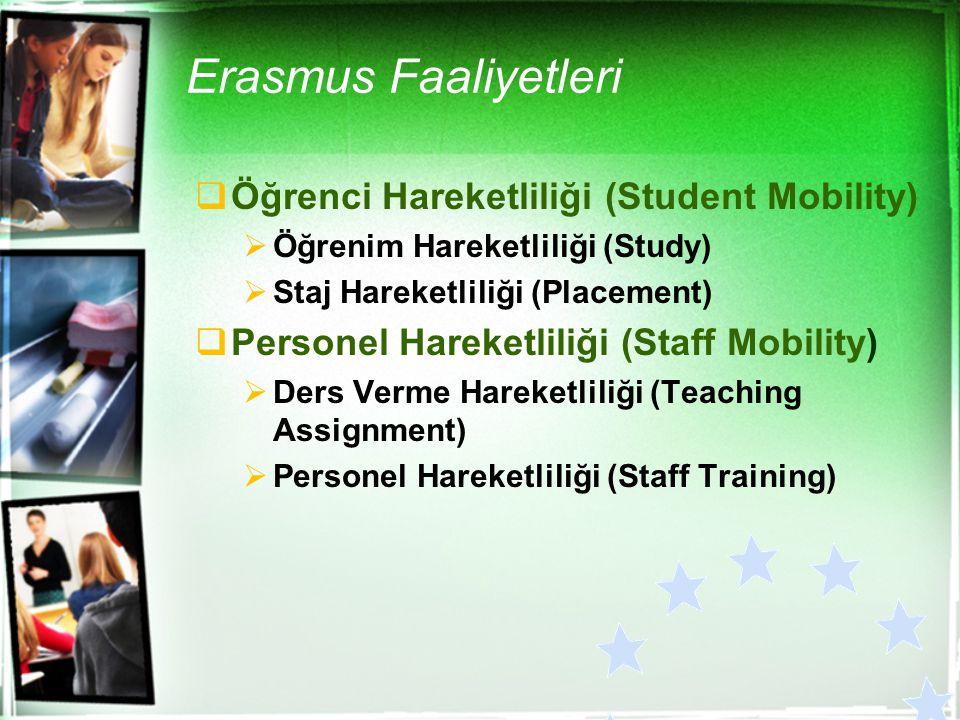 Erasmus Faaliyetleri  Öğrenci Hareketliliği (Student Mobility)  Öğrenim Hareketliliği (Study)  Staj Hareketliliği (Placement)  Personel Hareketlil